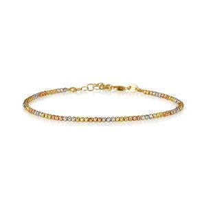 צמיד בייסיק Diamond Cut משולב - זהב 14K