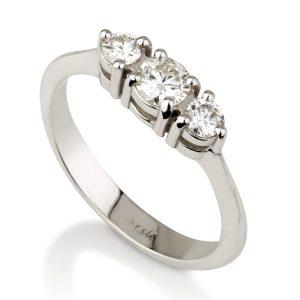 טבעת שלישיית יהלומים - זהב 14K