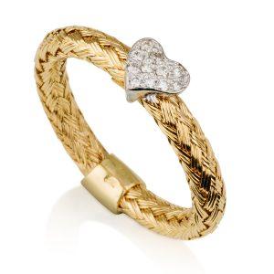 טבעת קשר האהבה בשילוב יהלומים - זהב צהוב 14K