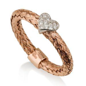 טבעת קשר האהבה בשילוב יהלומים - זהב ורוד 14K