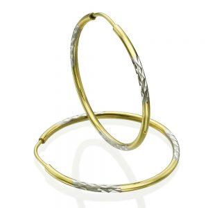 עגילי חישוק משולבים - זהב צהוב & לבן XL