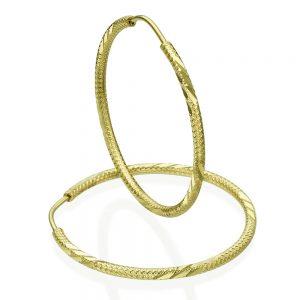 עגילי חישוק מעוטרים - זהב צהוב XL