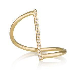 טבעת פס משובץ זהב צהוב 14K