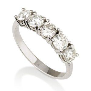 טבעת יהלומים פרפקט פייב  - זהב 14K