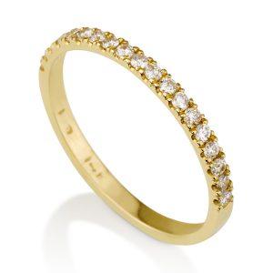 טבעת יהלומים חצי נישואים - זהב 14K