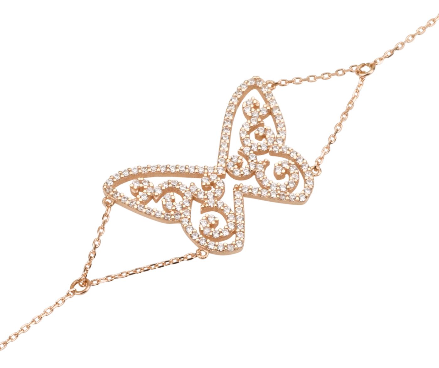 צמיד פרפר - זהב 14K - צמידי זהב - צמידי זהב משובצים - תכשיטי זהב משובצים - תכשיטי זהב מעוצבים