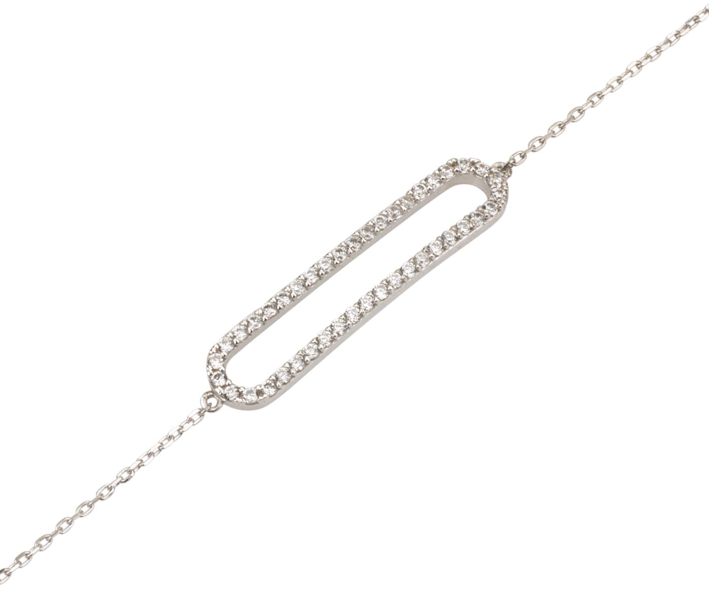 צמיד לורנה אליפטי - זהב לבן 14K