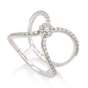 טבעת סלינה - זהב לבן 14K