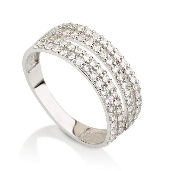 טבעת דאבל ונסה- זהב לבן 14K - תכשיטי זהב משובצים - תכשיטי זהב מעוצבים - טבעות זהב - טבעות זהב מעוצבות - טבעות זהב משובצות