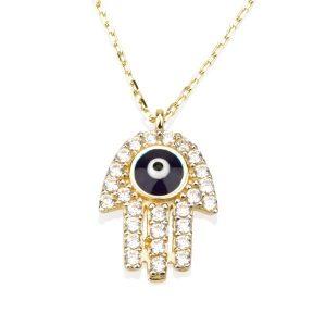שרשרת חמסה Blue-Eye - זהב צהוב 14K