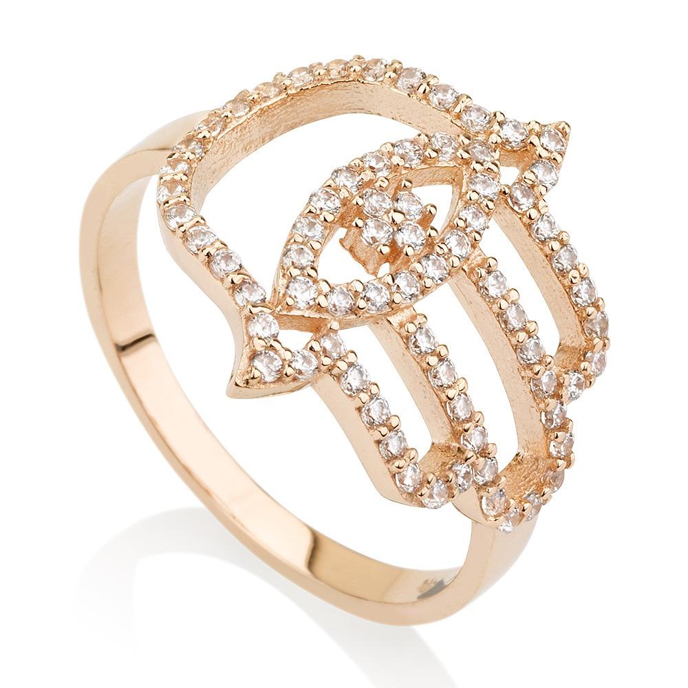 טבעת חמסה Evil Eye - זהב ורוד 14K