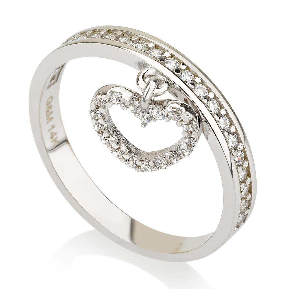 טבעת אמור – זהב לבן 14K - תכשיטי זהב מעוצבים - תכשיטי זהב משובצים - תכשיטי זהב - טבעת לב - טבעת משובצת - טבעת מזהב