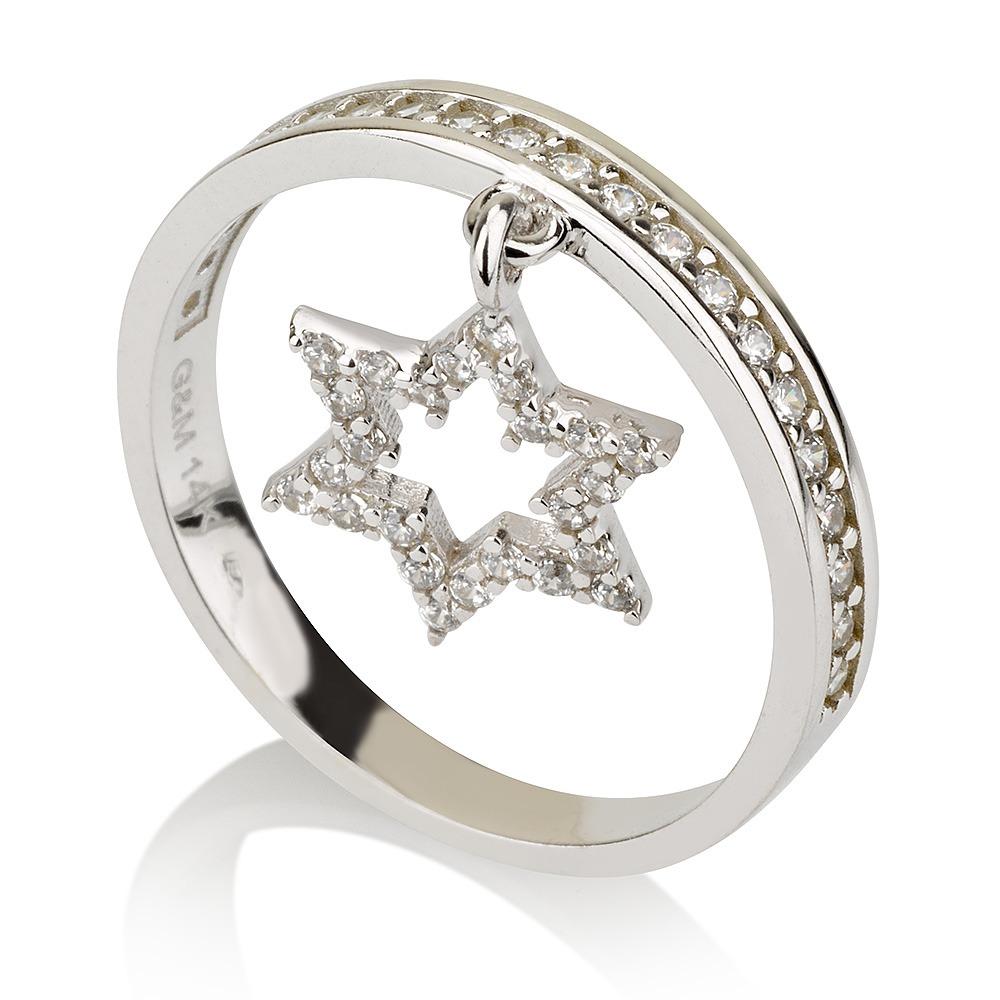 טבעת David Star - זהב לבן 14K