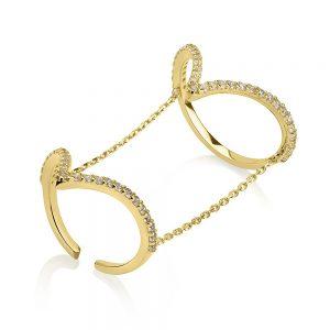 טבעת אריזונה - זהב לבן 14K