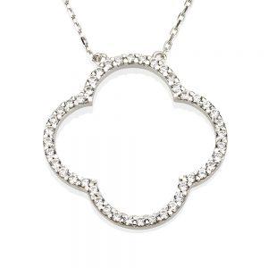 שרשרת Clover יהלומים - זהב לבן 14K