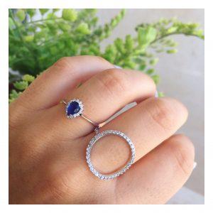 טבעת טיפה קייט אינדיגו - זהב לבן 14K