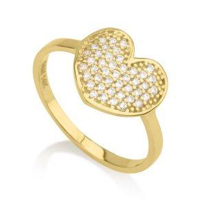 טבעת לב קייטי- זהב צהוב 14K