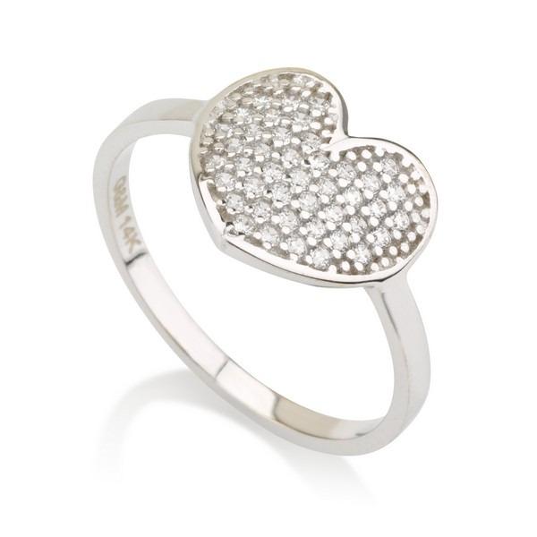 טבעת לב קייטי- זהב לבן 14K