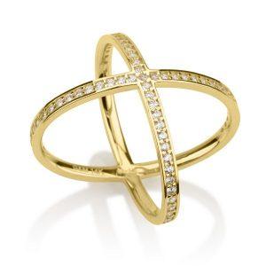 טבעת פקטור White Stones - זהב צהוב 14K