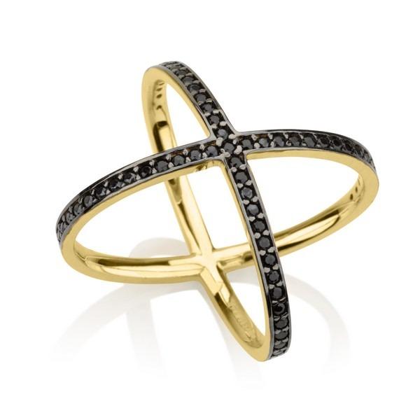 טבעת פקטור Black Stones - זהב צהוב 14K