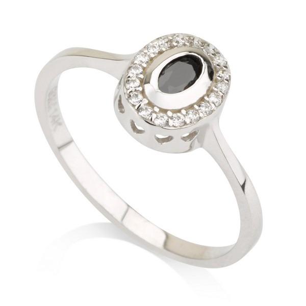 טבעת אלכסה בלאק - זהב לבן 14K