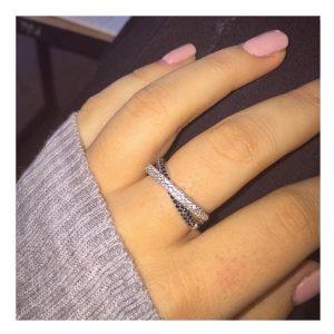 טבעת אמיליה Mix Stones - זהב לבן 14K