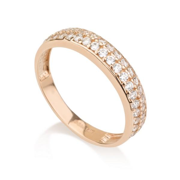 טבעת גלוריה - זהב ורוד 14K
