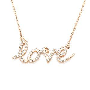 שרשרת Love - זהב ורוד 14K