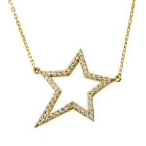 שרשרת רוקסטאר יהלומים - זהב  14K