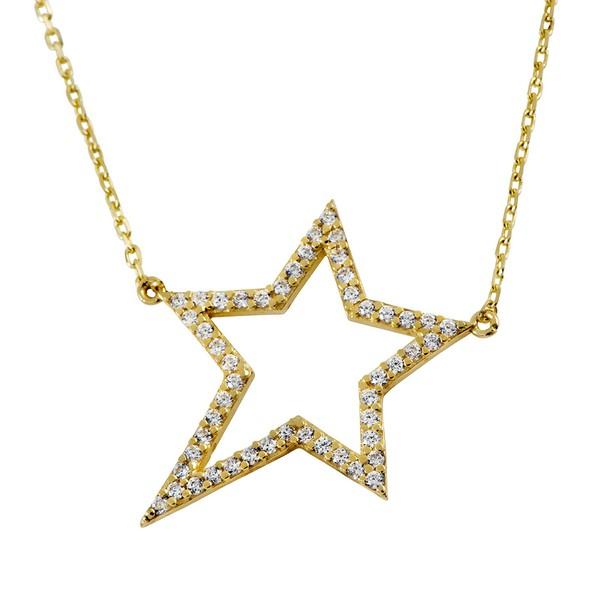 שרשרת רוקסטאר – זהב צהוב 14K - תכשיטי זהב משובצים - תכשיטי זהב מעוצבים - שרשרת זהב מעוצבת - שרשרת כוכב - שרשראות משובצות