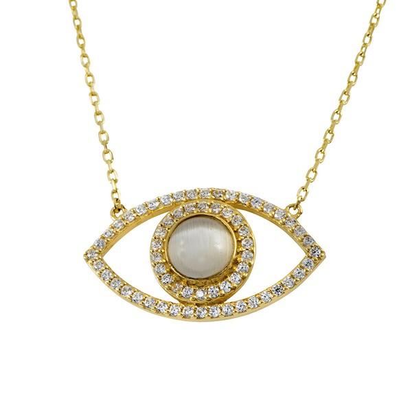 שרשרת היפנוטיקס – זהב צהוב 14K - תכשיטי זהב מעוצבים - תכשיטי זהב משובצים - שרשרת עין - שרשרת עין משובצת - שרשרת עין מעוצבת