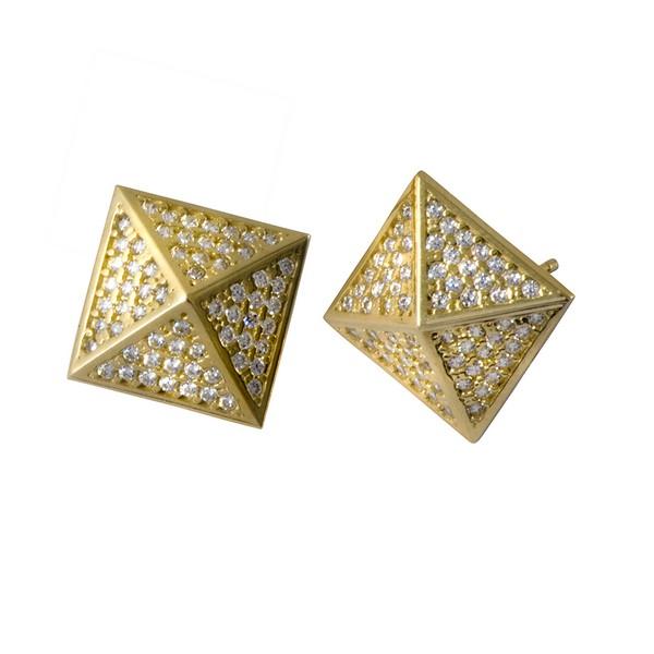 עגילי פירמידות - זהב צהוב 14K