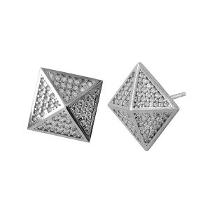 עגילי פירמידות - זהב לבן 14K