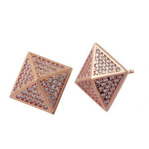 עגילי פירמידות - זהב ורוד 14K