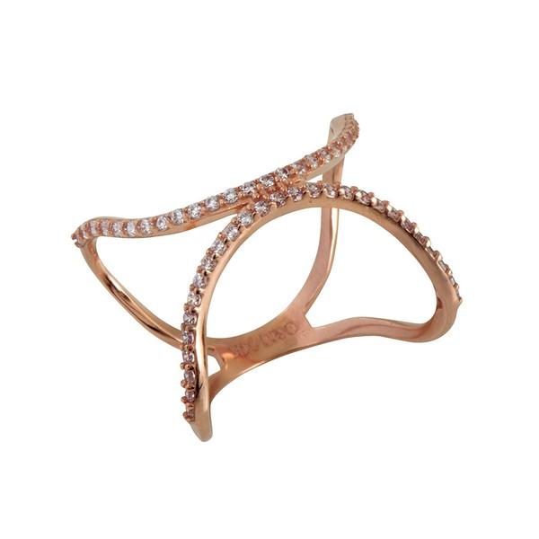 טבעת Half Moon - זהב ורוד 14K