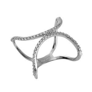 טבעת Half Moon - זהב לבן 14K