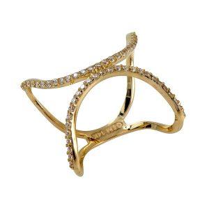 טבעת Half Moon - זהב צהוב 14K