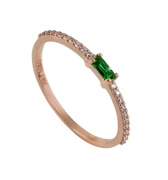 טבעת הוליוד אמרלד - זהב ורוד 14K