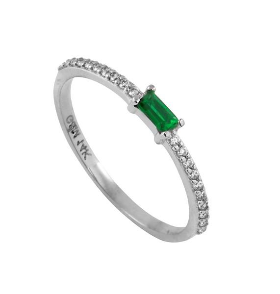 טבעת הוליוד אמרלד - זהב לבן 14K
