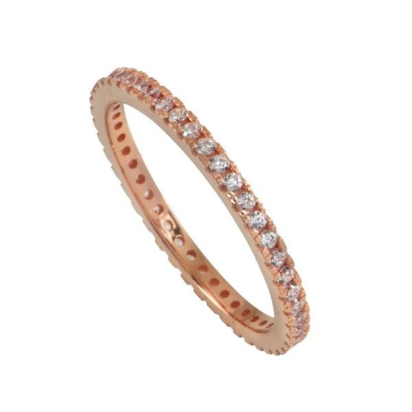 טבעת בייסיק ליין שיבוץ זירקונים - זהב ורוד 14K
