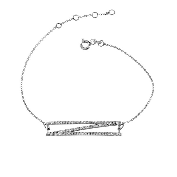 צמיד ג'יאומטריק - זהב לבן 14K