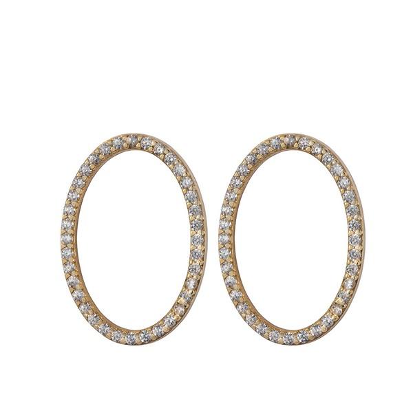 עגילי Circle אליפטיים - זהב צהוב 14K