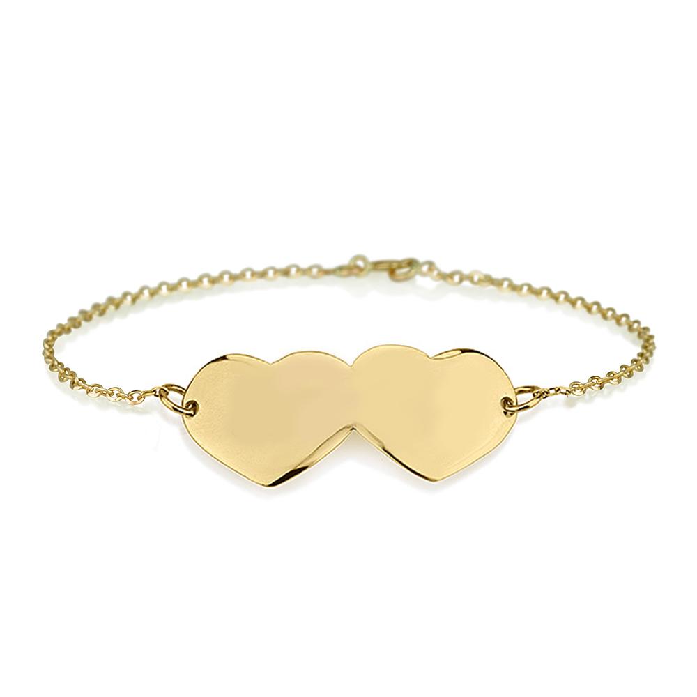 צמיד חריטה שני לבבות Double Heart - זהב 14K