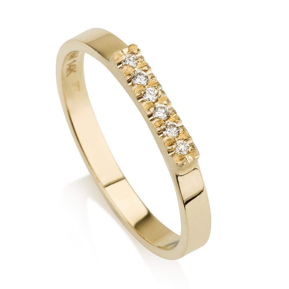 טבעת חותם יהלומים- זהב 14K