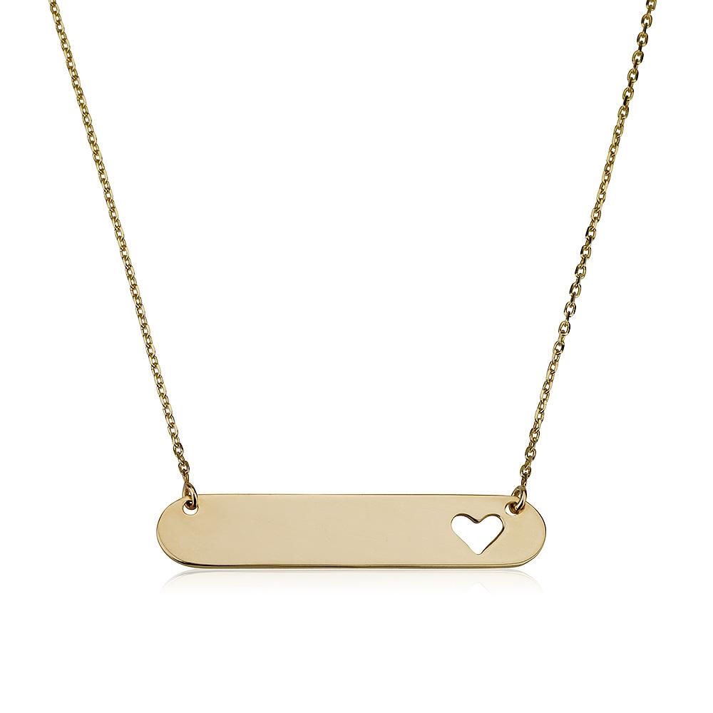 שרשרת חריטה פלטה אליפטית עם לב - זהב 14K