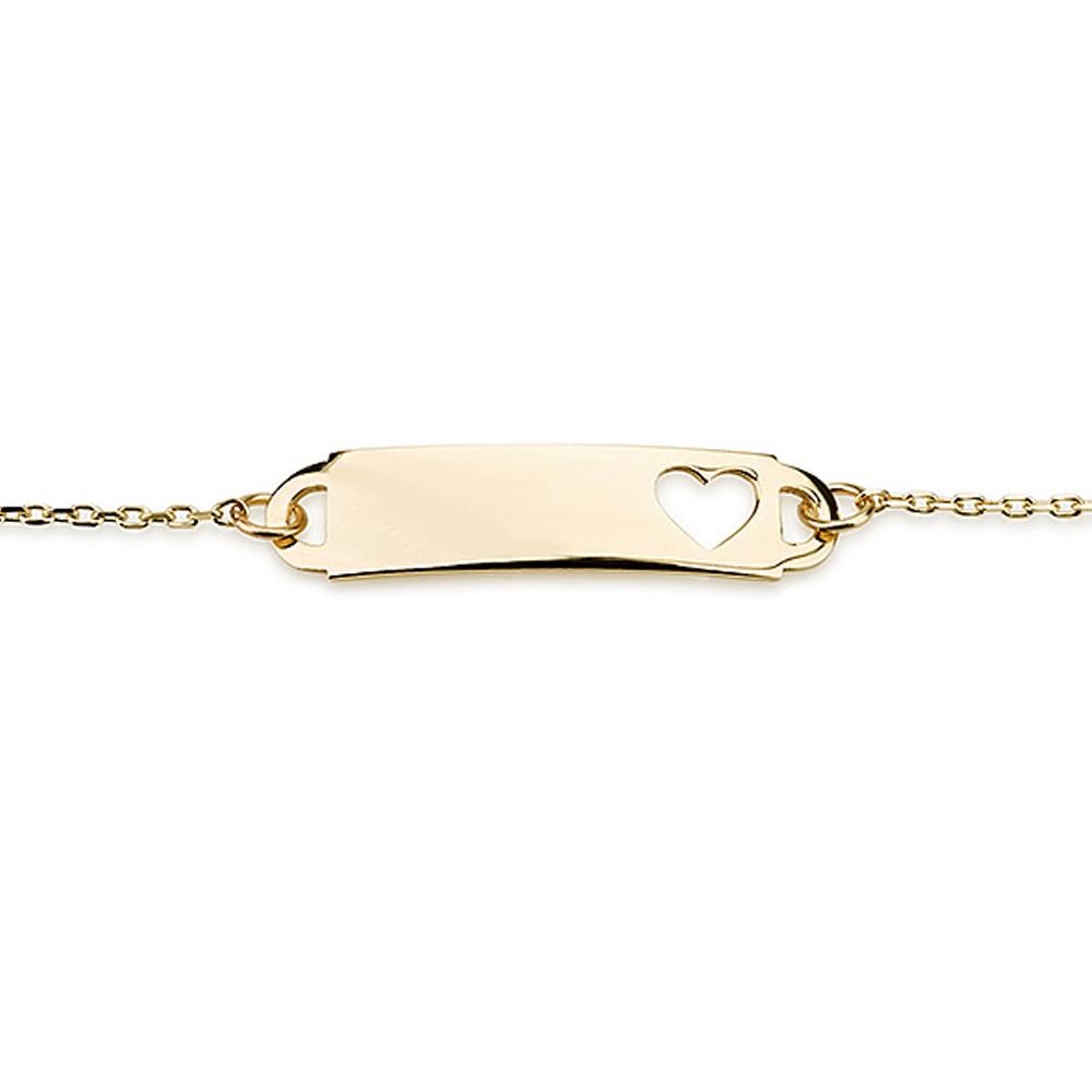 צמיד חריטה לילדות Tiny Heart - זהב 14K