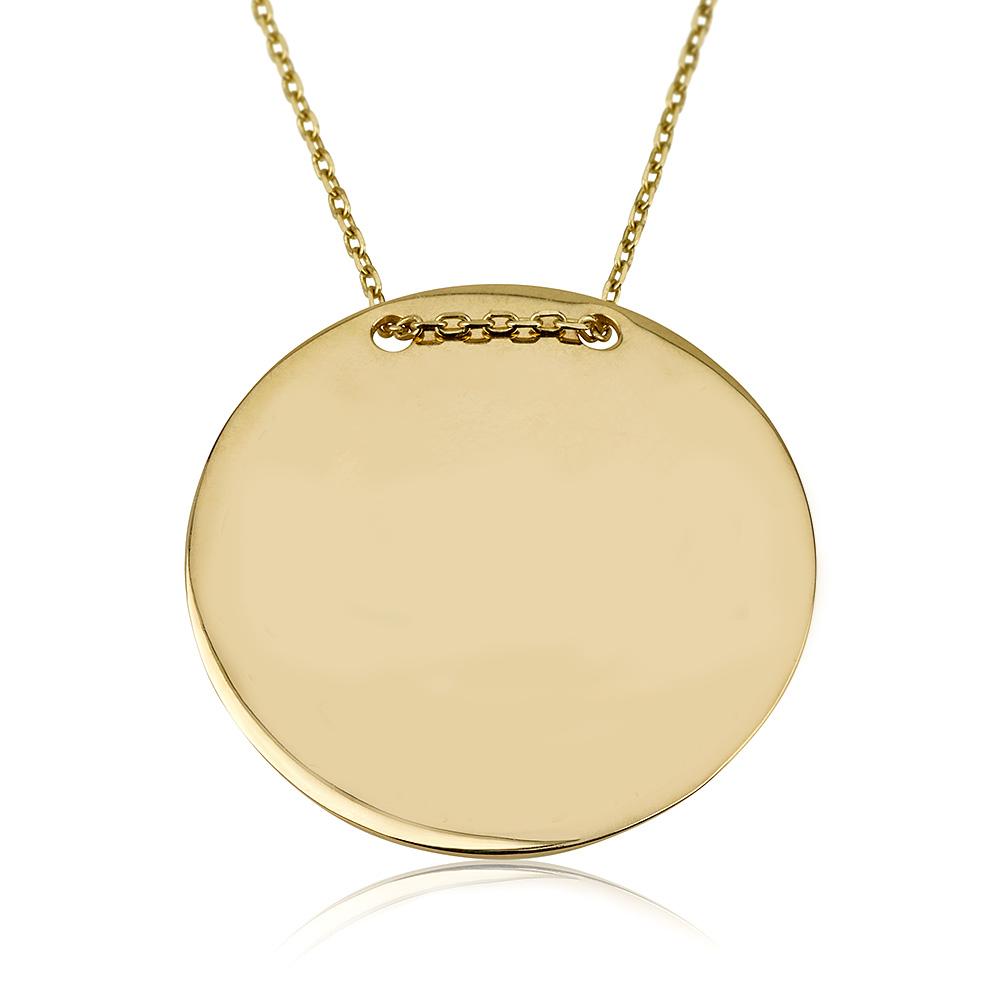 שרשרת פלטה עגולה - זהב 14K