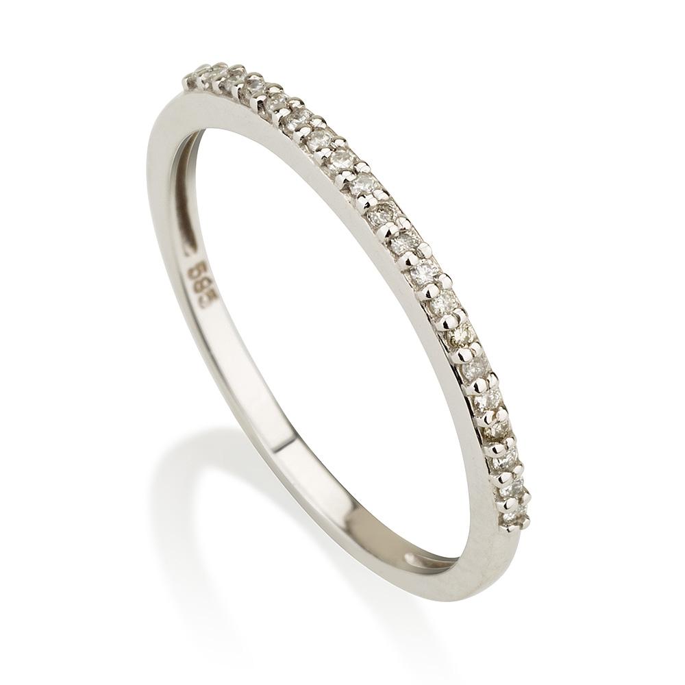 """טבעת """"Second"""" בשיבוץ זירקונים - זהב 14K"""