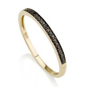 """טבעת """"Basic"""" שיבוץ יהלומים שחורים - זהב 14K"""