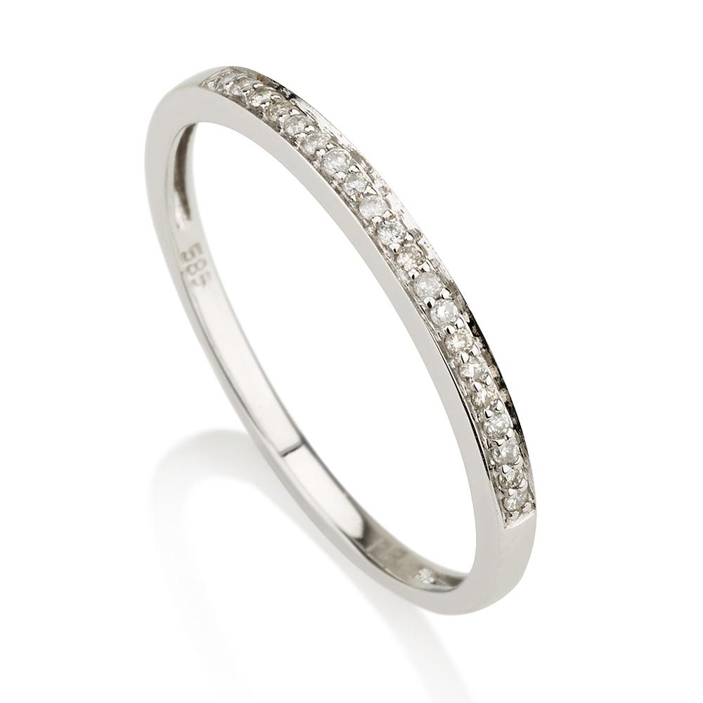 טבעת יהלומים חצי נישואין - זהב 14K